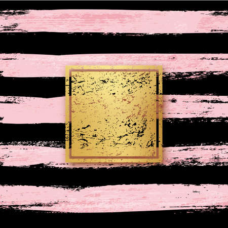 Golden foil with frame on black and pink brush background. Gold texture in square shape on smudged striped wallpaper in brushstrokes vector illustration. Shiny design in grunge style