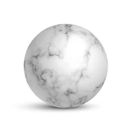 White marble ball. 3d realistic sphere in stone pattern with lines and shades vector illustration. Geometric abstract realistic object for house decoration Иллюстрация
