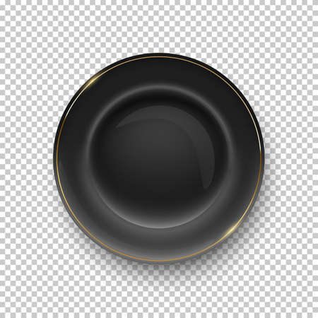 Black plate with golden border on transparent background. Empty dish for dinner, breakfast or lunch vector illustration. Clean porcelain dishware with decoration, flat lay