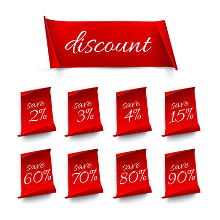 Red discount labels set. Sale banner stickers with different percent price offer vector illustration. Special promo badges to save money on white background. Advertising coupons