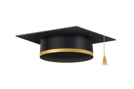 Academic cap for graduation ceremony in high school, college or university. Education hat isolated on white. Vector design element