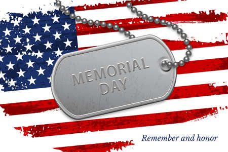 Happy Memorial day. Silver military badge on chain over national american flag. United states patriotic element. Event holiday celebration. Greeting history honoring thankfulness vector poster.