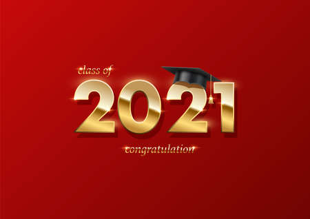 2021 graduation ceremony banner. Award concept with academic hat, golden numbers and text on red background.