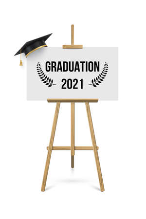 2021 graduation ceremony banner. Award concept with academic hat, easel and text on white paper placard.