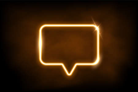 Glowing gold neon speech bubble sign. Electric light rectangle frame isolated on dark background with fog. Vector yellow design element.