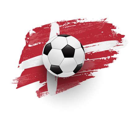 Realistic soccer ball on flag of Denmark made of brush strokes. Vector football design element.