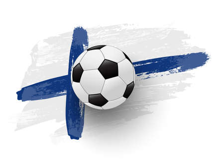 Realistic soccer ball on flag of Finland made of brush strokes. Vector football design element.
