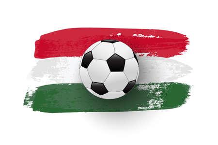 Realistic soccer ball on flag of Hungary made of brush strokes. Vector football design element. Ilustração
