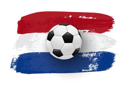 Realistic soccer ball on flag of Nederland made of brush strokes. Vector football design element.