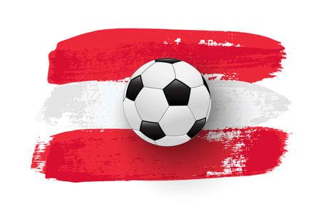 Realistic soccer ball on flag of Austria made of brush strokes. Vector football design element. Ilustração