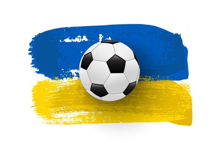 Realistic soccer ball on flag of Ukraine made of brush strokes. Vector football design element.