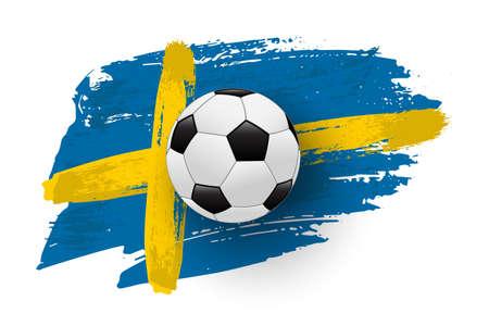 Realistic soccer ball on flag of Sweden made of brush strokes. Vector football design element.