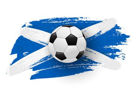 Realistic soccer ball on flag of Scotland made of brush strokes. Vector football design element.