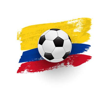Realistic soccer ball on flag of Columbia made of brush strokes. Vector football design element. Ilustração