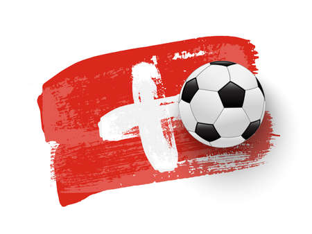 Realistic soccer ball on flag of Poland made of brush strokes. Vector football design element.