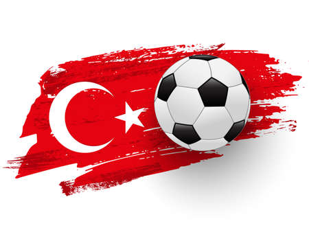 Realistic soccer ball on flag of Turkey made of brush strokes. Vector football design element. Ilustração