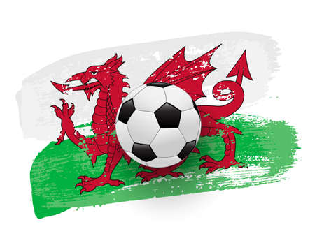 Realistic soccer ball on flag of Wales made of brush strokes. Vector football design element.