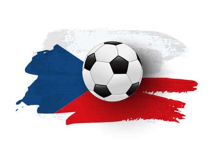 Realistic soccer ball on flag of Czech made of brush strokes. Vector football design element.