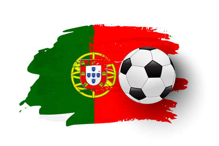 Realistic soccer ball on flag of Portugal made of brush strokes. Vector football design element.