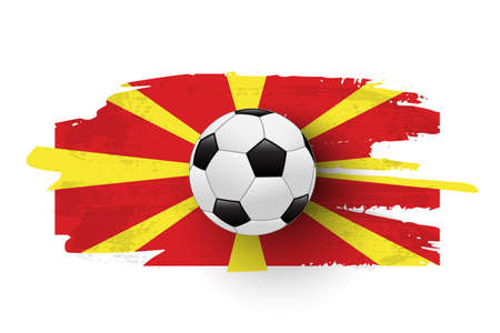 Realistic soccer ball on flag of Macedonia made of brush strokes. Vector football design element.