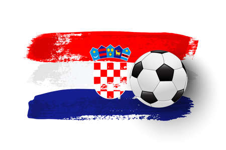 Realistic soccer ball on flag of Croatia made of brush strokes. Vector football design element.