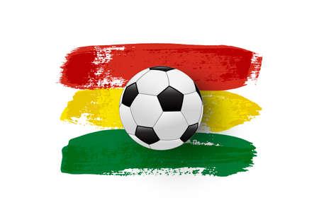 Realistic soccer ball on flag of Bolivia made of brush strokes. Vector football design element. Ilustração