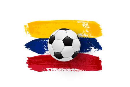 Realistic soccer ball on flag of Venezuela made of brush strokes. Vector football design element.
