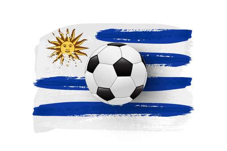 Realistic soccer ball on flag of Uruguay made of brush strokes. Vector football design element.