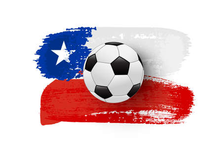 Realistic soccer ball on flag of Chile made of brush strokes. Vector football design element.