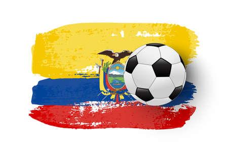 Realistic soccer ball on flag of Ecuador made of brush strokes. Vector football design element. Ilustração