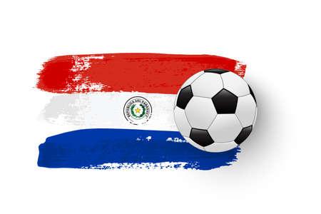 Realistic soccer ball on flag of Paraguay made of brush strokes. Vector football design element. Ilustração