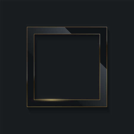Black glass rectangle with golden frame line on dark background. Round electric frame. Geometric fashion design vector illustration. Empty minimal border, abstract art decoration