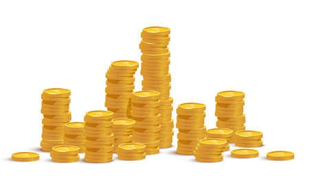 Gold coin stacks mockup vector illustration. Cash heap, wealth isolated on white background. Banking service, money loan. Successful investment, jackpot. Salary increase, revenue growth.