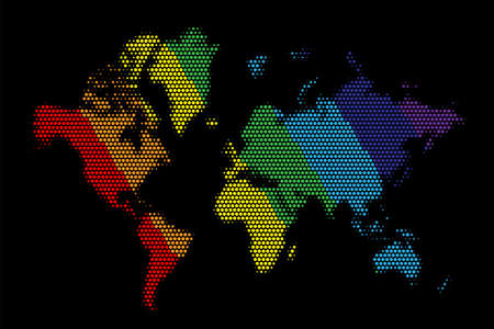 World map in colourful dots on black background. Earth continents in rainbow colours vector illustration. America, Asia, Africa, Australia, Europe in circle point pattern