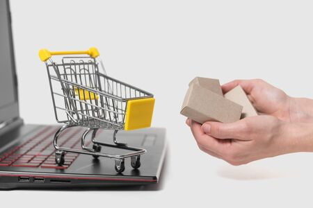 The womans hand takes a paper box from the grocery basket. The concept of delivering goods from an online store to a home. Imagens
