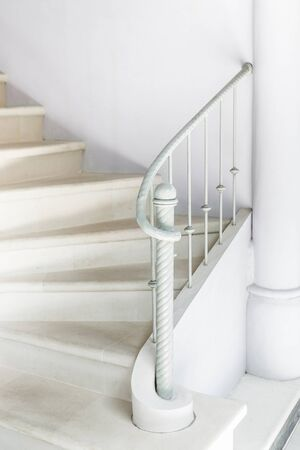 banister: White stairs with vintage white railing
