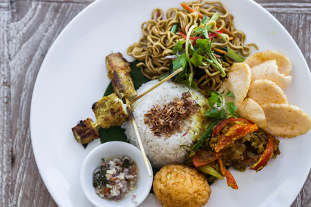 Indonesian traditional meal Nasi Champur, fried rice Stock Photo