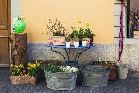 basins: Street decoration of flower shop with wooden boxes and metal basins
