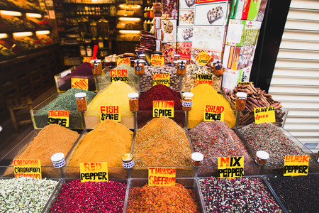 haggling: variety of spices on a market in Istanbul Stock Photo