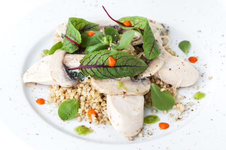 Bulgur with basil and chicken Stock Photo