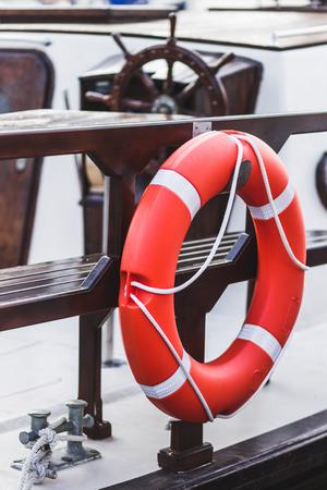 Lifebuoy on yacht