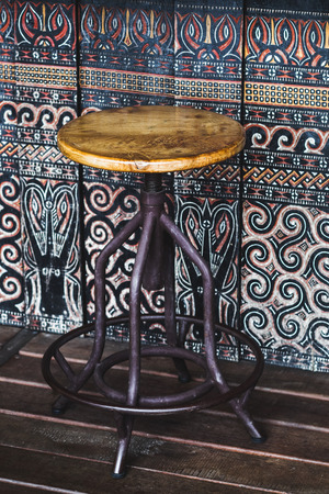 bar stool: Vintage wooden bar stool colorful background Stock Photo
