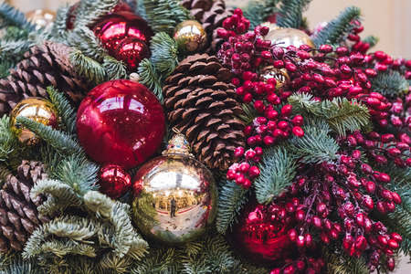 christmas tree ball: Showcase decorated Christmas balls, cones and berries of mountain ash, New Year Mood Stock Photo