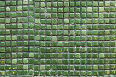mosaic floor: Green small mosaic, wall, floor tile Stock Photo