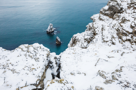 Winter sea landscape. View from the cliff of the coast in Fiolent, Crimea