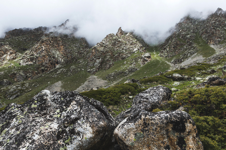 Mountain landscape with rocks and creeping fog. High peaks in the clouds, cold weather. Tourism in the mountains