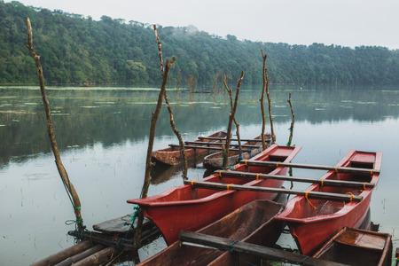 Two traditional double balinese boat at Tamblingan lake