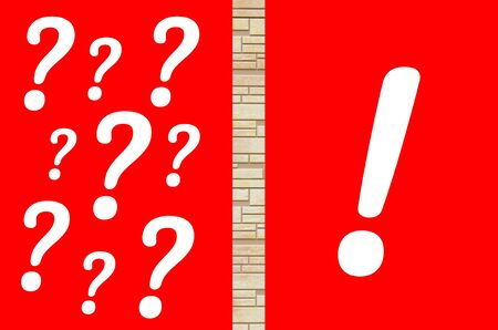 Question marks and only exclamation marks on red background