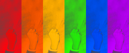 LGBT. gesture clenched fist - symbol of struggle for their rights on colorful background. abstract  backdrop - Image.