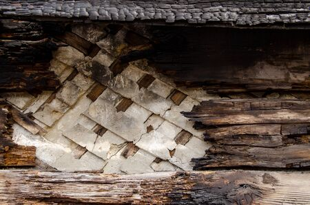 brown burnt wall of house of wooden planks with embossed texture. background for copy space. damage to the building from fire without the possibility of restoration. property insurance. Reklamní fotografie